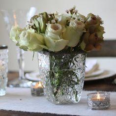 Grandma's Vase Pressed Glass Wedding Centrepiece - Square