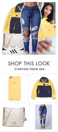 """"""";7:35pm"""" by lamamig ❤ liked on Polyvore featuring NIKE, MICHAEL Michael Kors and adidas"""