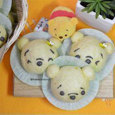 Karenwee's Bento Diary: Winnie The Pooh Deco Sweet Potatoes Steamed Buns Steamed Cake, Steamed Buns, Cute Buns, Sushi Art, Bento Recipes, Bread Bun, Pooh Bear, Food Design, Design Ideas