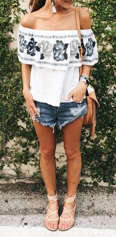 #summer #fashion / off-the-shoulder embroidered top