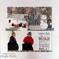 Simple Stories Snow Patrol Scrapbook Layout by Allison Davis.