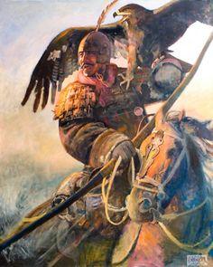 Qin Dynasty general with a war hawk- by Wang Kewei.