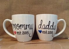Hey, I found this really awesome Etsy listing at https://www.etsy.com/listing/217321107/mommy-daddy-est-mugs-16oz-pregnancy