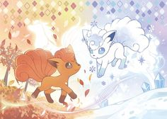 Vulpix & Alolan Vulpix from Pokemon Pokemon Mew, Pokemon Fan Art, Pokemon Tattoo, Alolan Vulpix, Pokemon Eeveelutions, Alolan Ninetales, Cute Animal Drawings, Cute Drawings, Nine Tails Pokemon