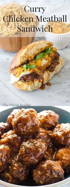Curry Chicken Meatball Sandwich - Take your Meat Ball Subs to the next level with these Chicken meatballs made from scratch in a delicious spicy curry sauce and served in rolls with melted cheese and a cold, sweet and spicy mango chutney. Meat And Potatoes Recipes, Meat Sauce Recipes, Easy Meat Recipes, Meatball Recipes, Dinner Dishes, Dinner Menu, Chutney, Ground Chicken Meatballs, Sandwich Sauces
