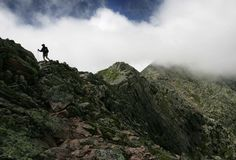 Hiking the Knife's Edge, Mt. Katahdin, Baxter State Park, Maine.