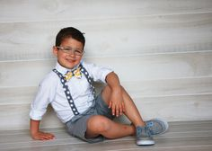 GrayWhiteYellow Bow tie and Suspender Set by Chevelly on Etsy, $33.00