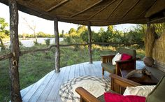 Relaxing views at Nsolo Bush Camp, ©Patrick Bentley Safari, Relax, Outdoor Furniture, Outdoor Decor, Lodges, Camping, Patio, Travel, Home Decor
