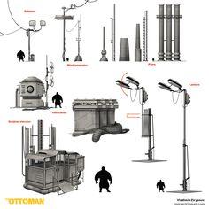 ArtStation - The Ottoman – Roof Props Pack , Vladimir Ziryanov Environment Concept Art, Visual Development, Dieselpunk, Ottoman, Packing, Street, Artwork, Bag Packaging, Work Of Art