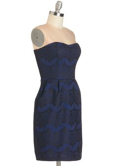 Together for Evergreen Dress in Blue. After a heartfelt ceremony, you stand before the guests in this midnight-blue sheath and give a toast to the celebrated couple. #blue #modcloth