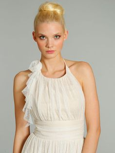 This elegant halter-neck Alvina Valenta dress has a chiffon polka dot fabric design in an off-white/beige shade of colour. Product code AV9274.  View more Bridesmaid dresses from our JLM Couture Alvina Valenta collection at: http://www.baroqueboutique.co.uk/bridesmaids/  Photographs courtesy of: http://www.jlmcouture.com/Alvina-Maids