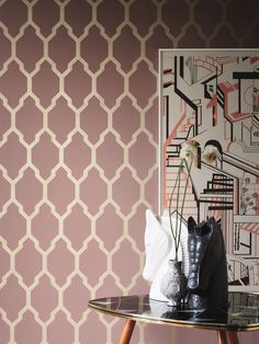 """What's new with Farrow & Ball? Farrow & Ball adds a touch more glamour and drama to nine of their """"best-loved"""" designs with a layer of metallic: gold, silver, copper and gilver (a mix of gold and silver). Metallic Wallpaper, Paper Wallpaper, Painting Wallpaper, Geometric Wallpaper, Geometric Lines, Home Wallpaper, Pink Wallpaper, Colorful Wallpaper, Colorful Backgrounds"""