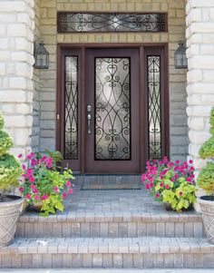 Plastpro Traditional Style Full Lite Priscilla Fiberglass Exterior Doors  With Full Lite Side Lites   Plastpro
