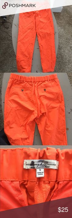 Bright Burnt Orange Trousers NEVER WORN.. bought but they were too small. Swishy material trousers...very lightweight and comfortable! Has an semi-elastic waist line. Can be dressed up or down. broadway & Broome Pants Trousers