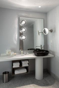 Modern Pedestal Sink, Mondrian, Washroom, Interior Inspiration, Toilet, Mirror, House, Furniture, Home Decor