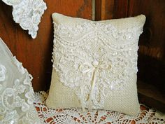 Burlap Ring Bearer Wedding Pillow handmade of burlap, off white lace, pearls and ivory satin ribbon. $19.95