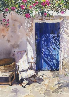 """Blue door"" by Margaret Merry...refreshing, the shade throwing lace patterns on that beautiful blue door, relaxing...'sit down and stay awhile'..."