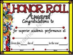 Pin by jessica stiefer on printables fonts clipart pinterest honor roll certificate 5 from a teacher in paradise on teachersnotebook 1 page yelopaper Image collections