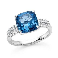 4.10 Carat London Blue Topaz & Diamond Ring in Sterling Silver #Netaya