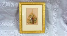 Hand Painted India Peepal Tree Leave Birds Framed by EtagereLLC, $35.00