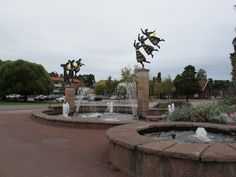 Delightful fountains in Rättvik, Dalarna County on Lake Siljan.