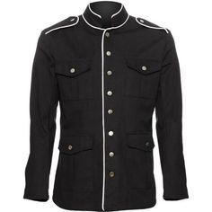 Men's uniform jacket by Raven SDL, black cotton with white piping, from their military inspired goth clothing collection.