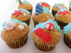 #Beach themed #cupcakes - check out more on facebook at KC bakes 4U