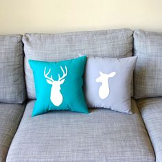 Deer Pillows Wedding Decor  Stag and Doe Decorative by regansbrain, $70.00  Baby boy hunting room