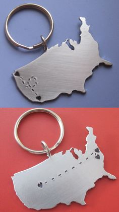 Custom Long Distance Keychain. CHI to DAL