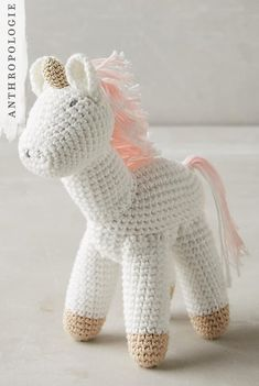 Adorable Crocheted Unicorn Toy for baby girl nursery The Effective Pictures We Offer You About girl nurseries blue A quality picture can tell you many things. You can find the most Love Crochet, Crochet Gifts, Crochet Toys, Crochet Baby, Crocheted Animals, Irish Crochet, Anthropologie Gifts, Unicorns And Mermaids, Baby Girl Toys