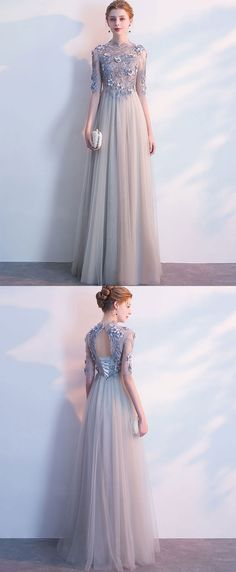 Gray long sleeve lace long prom dress, lace evening dress