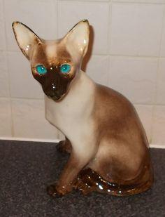 WINSTANLEY STUDIO POTTERY LARGE MODEL OF A SIAMESE CAT SIZE 6 | eBay