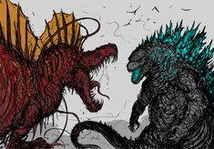 All Godzilla Monsters, Godzilla Comics, Cool Monsters, Godzilla Vs, Creature Concept Art, Creature Design, Cthulhu, Big Lizard, Arte Cyberpunk