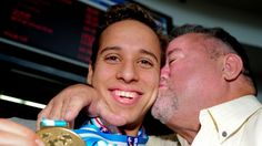 Chad le Clos with his dad - Bert Chicago Cubs, Champs, Olympics, South Africa, Dads, Swimming, African, Action, In This Moment