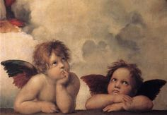Raphael painting defiantly focus's on the two babes faces I mean look at there eyes were are they looking to? I really like this painting because it has character.