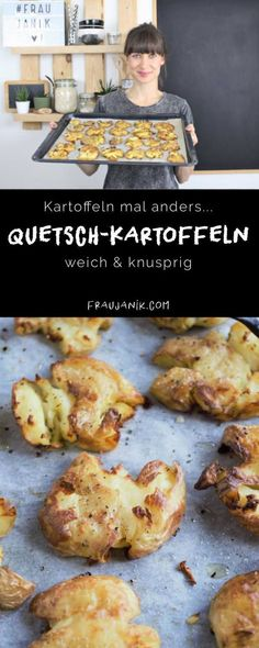 Quetschkartoffeln – Frau Janik Potatoes with a difference – crushed potatoes soft & crispy. These potatoes just taste great and are a great change from fries and wedges. Lunch Recipes, Real Food Recipes, Vegetarian Recipes, Chicken Recipes, Crushed Potatoes, Best Mexican Recipes, Lunches And Dinners, Lunch Meals, Weeknight Dinners
