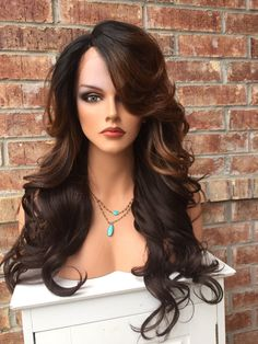 """Sharon Brown Auburn Wavy Curl Human Hair Blend Lace FrontWig 26"""""""