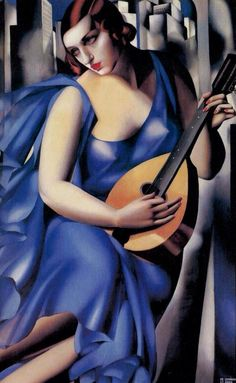 Tamara de Lempicka, The Musician, 1929. Art Deco artwork. Although art deco was rarely applied to artwork, this is a good example