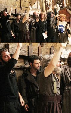 """Peter Jackson: """"If your characters have beards, put your hands up."""" Aiden looks so depressed in this picture lol :P"""