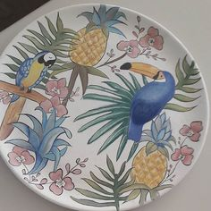 Handmade Porcelain Plate  #boyama #art #porcelain #painting #handmade #handmadewithlove #porcelainpainting #flamingo #sir #diy #brush #çini Pottery Plates, Ceramic Plates, China Clay, Turkish Tiles, Ceramic Painting, Tile Art, Plates On Wall, Kitchenware, Decorative Plates