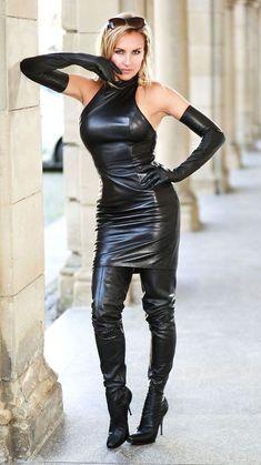 women Genuine Lambskin Leather Dress Plus Size Custom Made For Halloween Pvc Fashion, Latex Fashion, Look Fashion, Womens Fashion, Lambskin Leather, Leather Boots, Black Leather, Real Leather, Miss Mosh