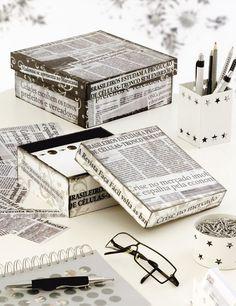 Passo a passo de caixa com decoupage -jornal
