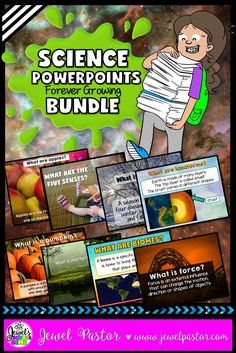 Science Activities ★ Science PowerPoints BUNDLE by Jewel Pastor ★ Save time and money with this FOREVER GROWING BUNDLE that consists so far of 16 of my SCIENCE POWERPOINTS.  This 605-slide bundle consists of PowerPoints on the following topics: Apples, Biomes, Body Systems, Five Senses, Force and Motion, Insects, Landforms, Matter, Planets, Plants, Pumpkins, Scientific Method, Spiders, Seasons, Water Cycle, and Weather. Click through to see this awesome bundle in my TpT store!