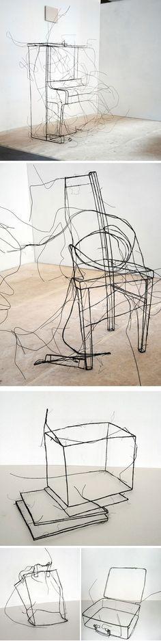 Sculptures en fil de fer par Fritz Panzer
