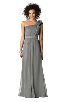 grey single shoulder bridesmaid dress