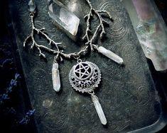 Moon Child Copper Pendant Necklace with Quartz Point /& Chalcedony