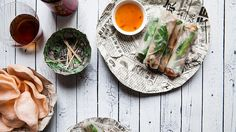 Who said noodles were strictly for salads, stir-fries and soups? Dried cellophane noodles star in Peter Krog's recipe for these easy Peking duck rolls. Vietnamese Rolls, Easy Vietnamese Recipes, Asian Recipes, Ethnic Recipes, Great Recipes, Snack Recipes, Cooking Recipes, Favorite Recipes, Cooking Ideas