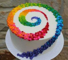 Colorful Patterned Swirl on White Cake: Birthday Cakes, Colorful Cakes Beautiful cake pictures: Colorful patterned strudel on white cake: birthday cake, colorful cake Beautiful Cake Pictures, Beautiful Cakes, Amazing Cakes, Fancy Cakes, Cute Cakes, Pretty Cakes, Crazy Cakes, Rainbow Swirl Cake, Rainbow Cakes