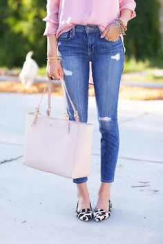 J.Crew pink silk shirt and leopard print pointy toe loafers plus Tory Burch pink tote | Pink Peonies