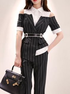 Wholesale Striped Contrast Color Off Shoulder Women Suits Kpop Fashion Outfits, Korean Outfits, Suit Fashion, Look Fashion, Korean Fashion, Fashion Dresses, Fashion Design, Classy Outfits, Stylish Outfits
